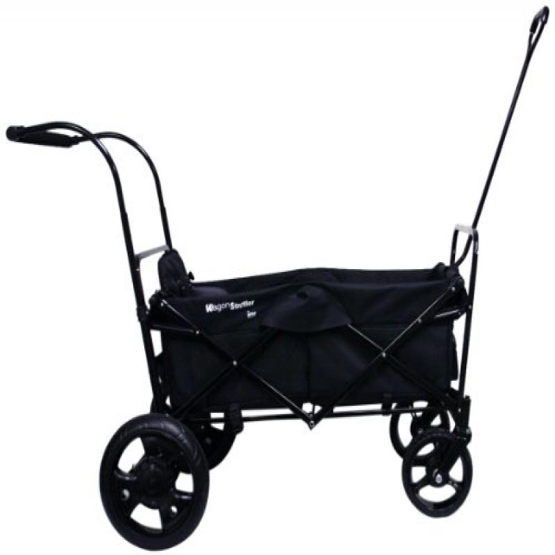 GO-GO BABYZ SINGLE FOLDING WAGON STROLLER ASTM certified with One Seat, Push Handle and Rear Foot Brake, black