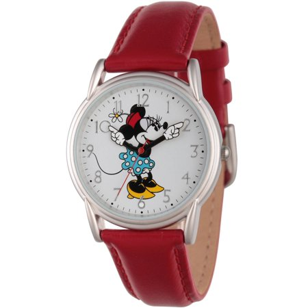 Minnie Mouse Wrist Watch (Articulating Classic Minnie Mouse Blue Polka Dot Dress Women's Silver Cardiff Alloy Watch, Red Leather Strap )