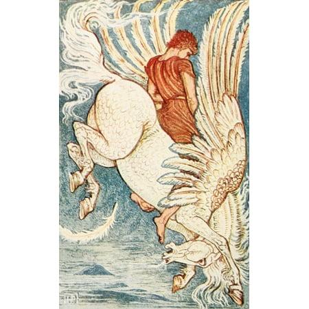 A Wonder Book For Girls   Boys 1884 Bellerophon On Pegasus Poster Print By  Walter Crane