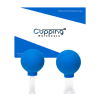 Cupping Warehouse TM Glass 2 Smaller (1small,1medium) Massage Facial Professional and Home Use Cupping Therapy Sets with Blue Silicone Bulb Suction