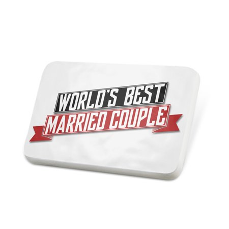 Porcelein Pin Worlds Best Married Couple Lapel Badge –