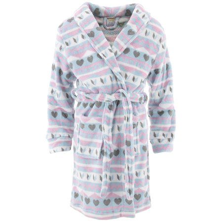 Sweet-N-Sassy Girls Fair Isle Blue Fleece Bathrobe - Kids Bathrobe