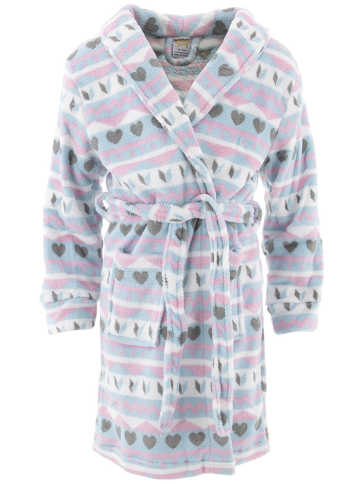Sweet-N-Sassy Girls Fair Isle Blue Fleece Bathrobe