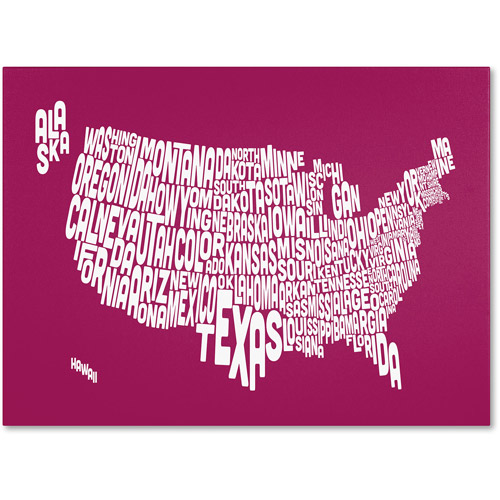 Trademark Art 'RASPBERRY-USA States Text Map' Canvas Art by Michael Tompsett