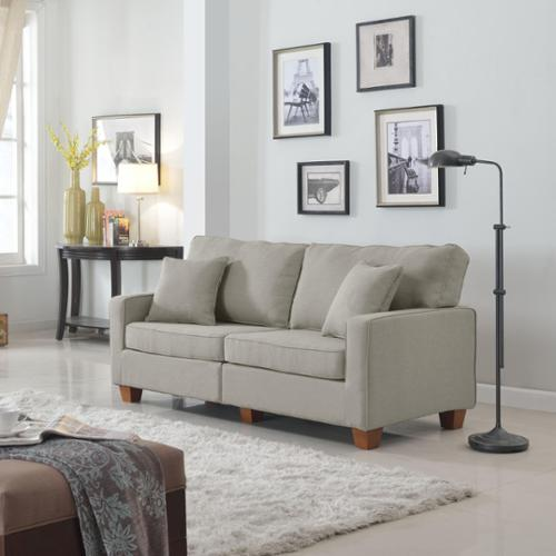 Madison Home Classic 73 Inch Love Seat Living Room Linen Fabric Sofa In  Colors Beige