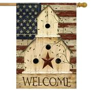 "Americana Welcome House Flag Primitive Patriotic 28"" x 40"" Briarwood Lane"