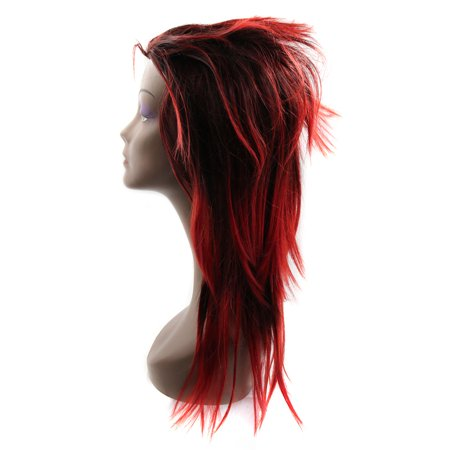 """Black Red 21.3"""" Long Synthetic Rocking Punks Hairstyle Costume Cosplay Wigs w/ Wig Cap - image 1 de 5"""