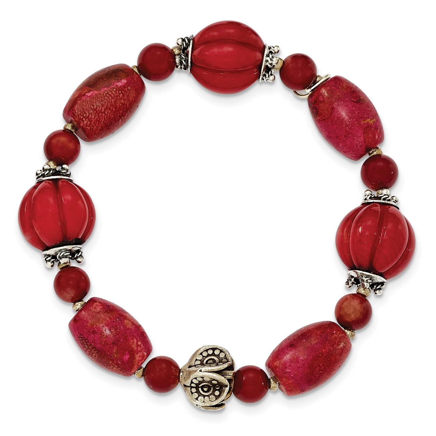 Ladies 12mm 925 Sterling Silver Antiqued Beads & Red Coral Stretchable Bracelet by
