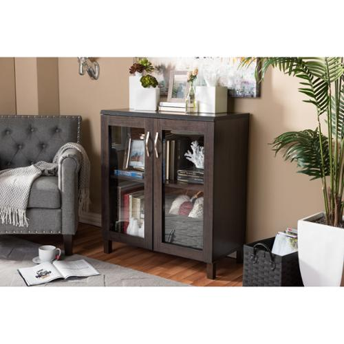 Baxton Studio Sintra Modern and Contemporary Dark Brown Sideboard Storage Cabinet with Glass Doors by modvilla