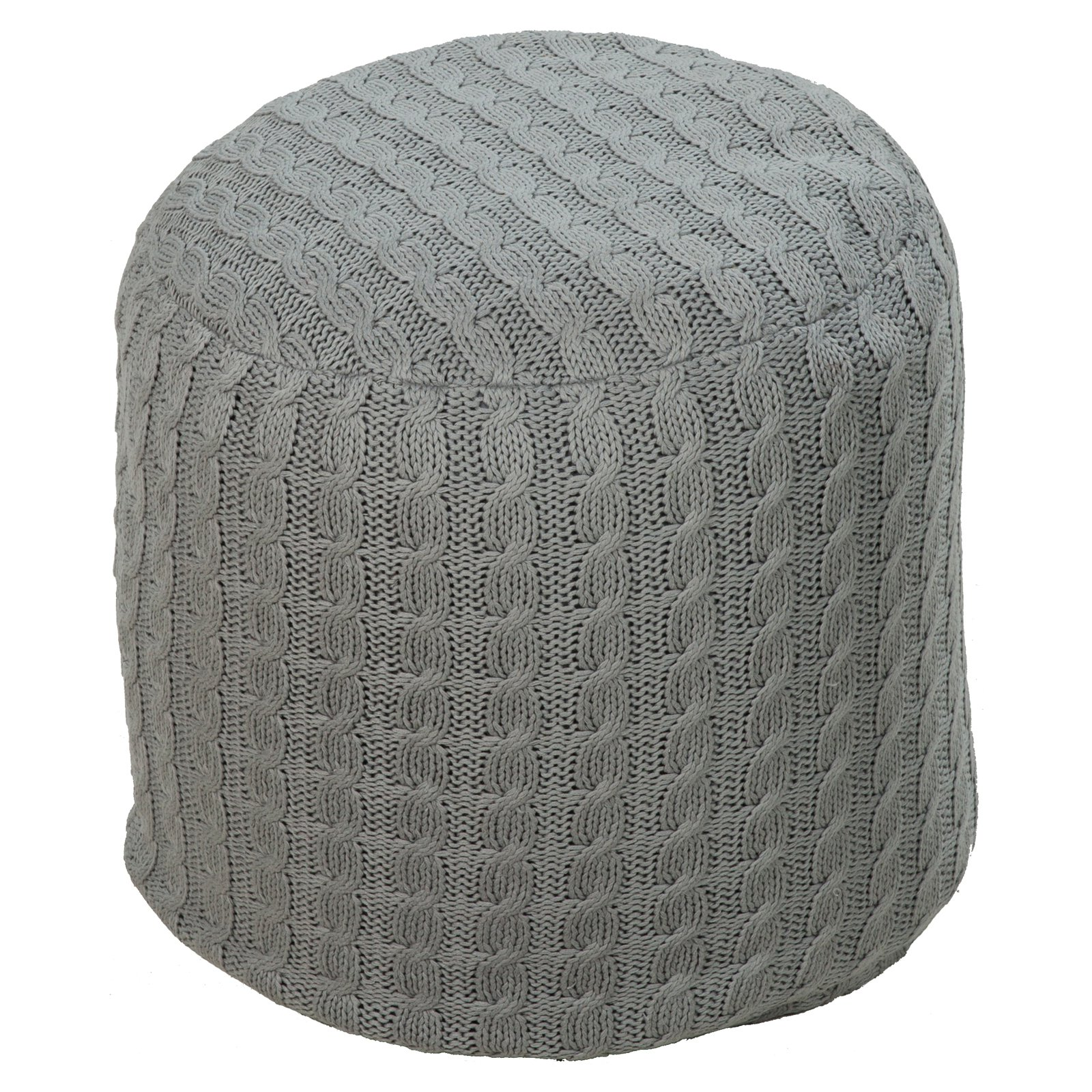Surya 18 in. Round Pouf Oyster Gray by Surya Rug