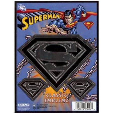 Chroma Graphics 3016 Decal: Classic Emblemz; superman; embossed; (Chroma Graphics Static Cling)