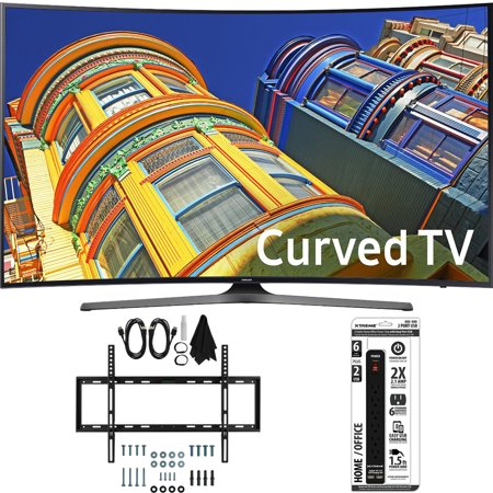 Samsung UN55KU6500 – Curved 55-Inch 4K Ultra HD LED Smart TV w/ Slim Wall Mount Bundle includes TV, Slim Flat Wall Mount Ultimate Kit and 6 Outlet Power Strip with Dual USB Ports