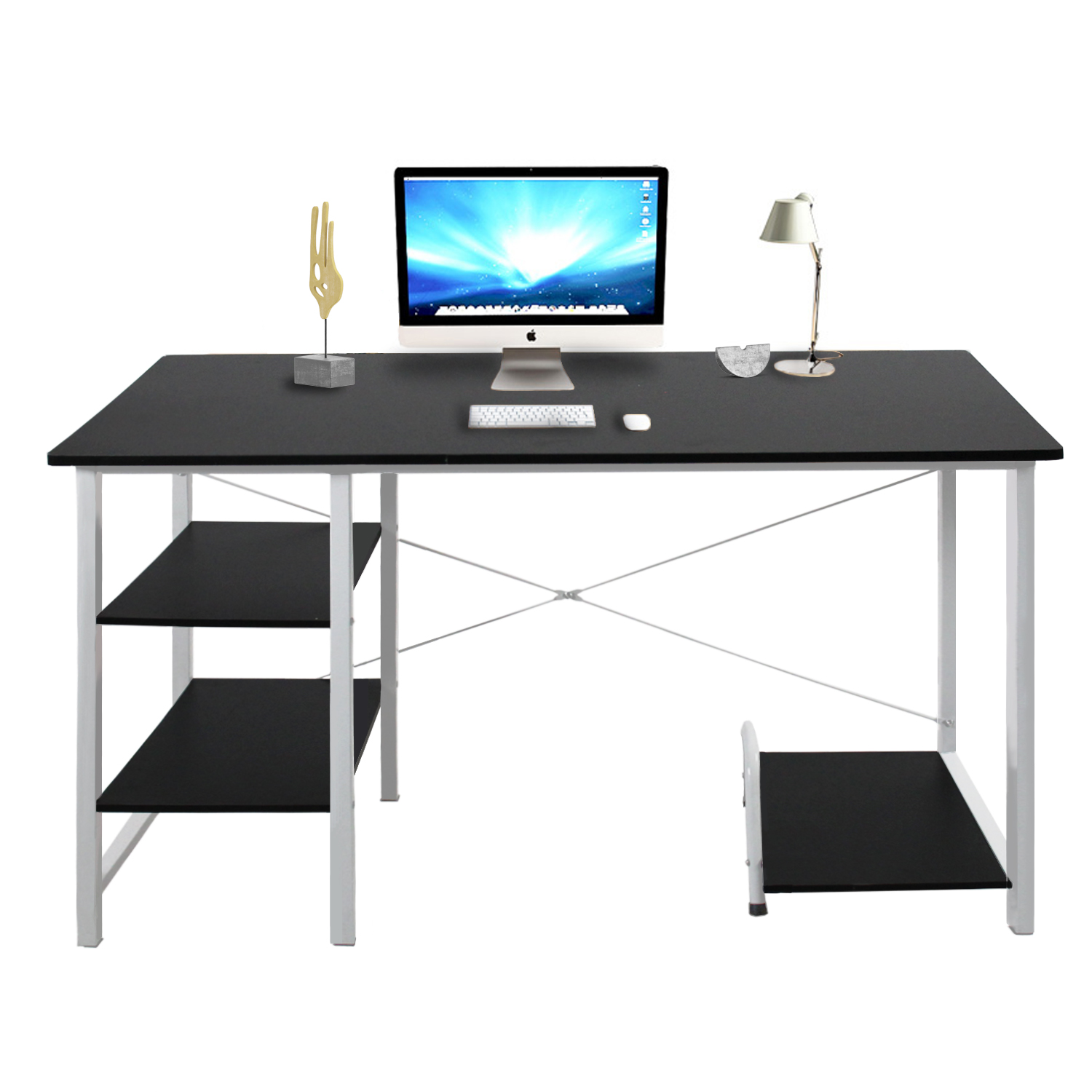 - Modern Computer Desk With Side Shelves Panels USB Accessory