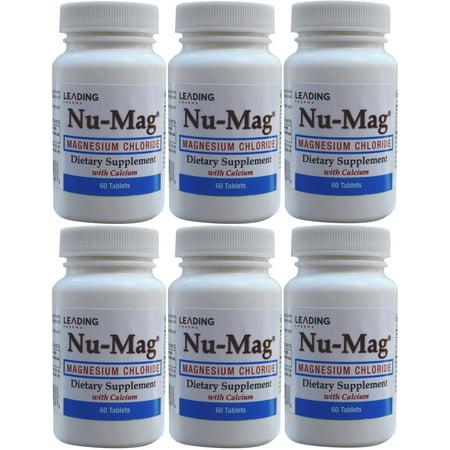 Nu-Mag chlorure de magnésium avec du calcium 60 comprimés entérosoluble par bouteille PACK 6