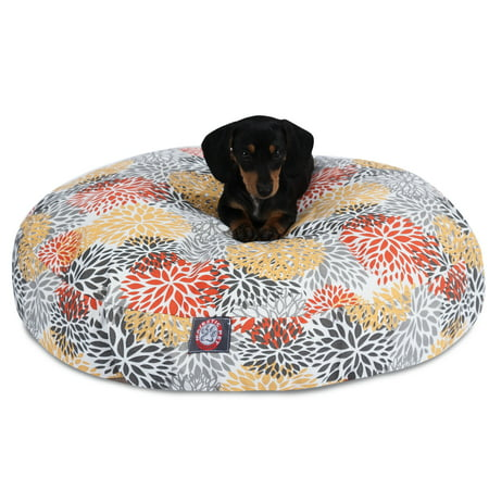 Amazing Majestic Pet Blooms Round Dog Bed Treated Polyester Removable Cover Citrus Small 30 X 30 X 4 Creativecarmelina Interior Chair Design Creativecarmelinacom