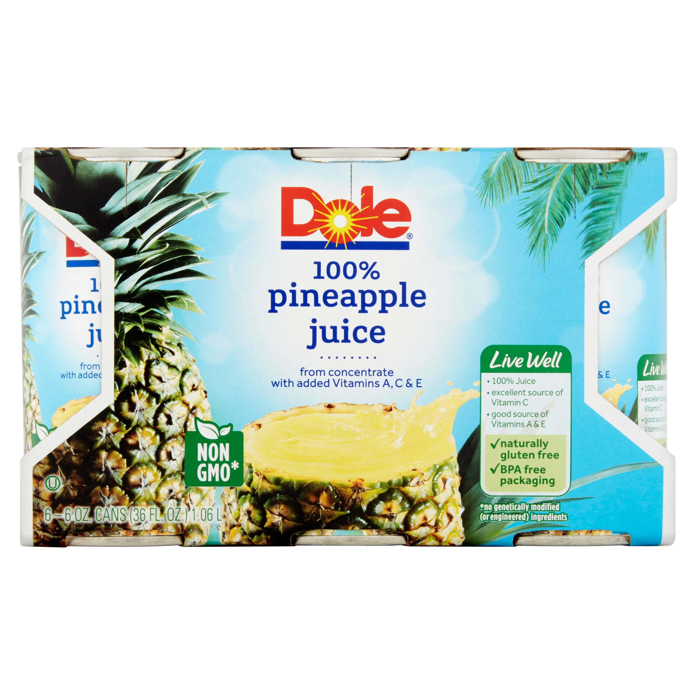 Dole 100% Pineapple Juice, 6 oz, 6 cans by Dole Packaged Foods, LLC