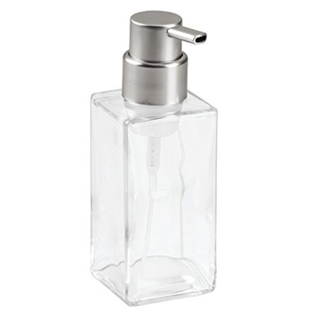 InterDesign Casilla Glass Foaming Soap Dispenser Pump for Kitchen, Bathroom Countertop and Vanities - Clear/Brushed
