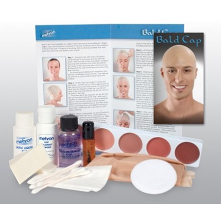 Character Makeup Kit Bald Cap Premium Mehron Professional Easy Costume Halloween (Professional Halloween Makeup Artist)