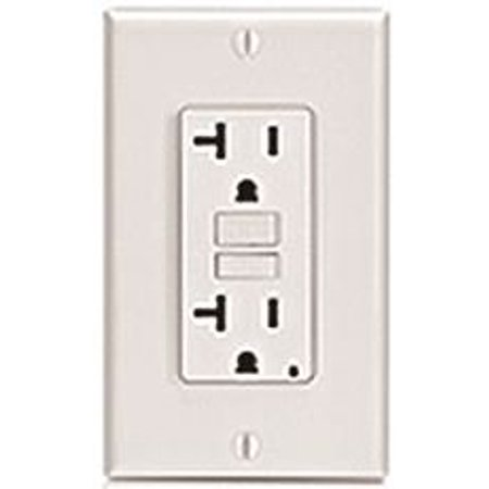 LEVITON SMARTLOCKPRO 2-POLE DUPLEX GFCI RECEPTACLE WITH LED, LIGHT ALMOND, NEMA 5-20R, 125 VOLTS, 20