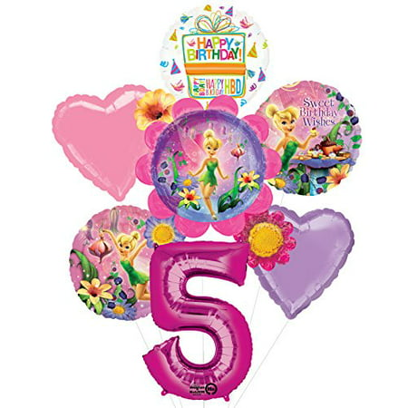 Tinkerbell 5th Birthday Party Supplies Flower Cluster Balloon Bouquet - Flower Balloons