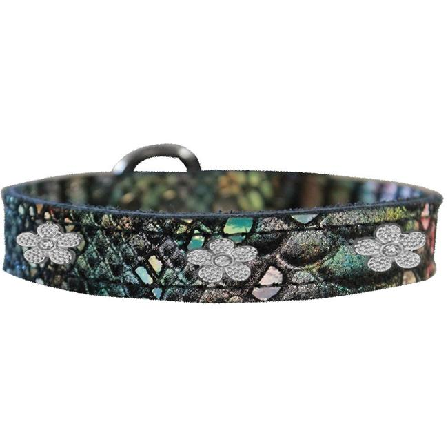 Silver Flower Widget Dragon Skin Genuine Leather Dog Collar Magic Size 10 - image 1 de 1
