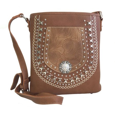 American Bling by Montana West Concealed Gun Messenger Purse Cross Body Tooled Pocket Concho Brown thumbnail