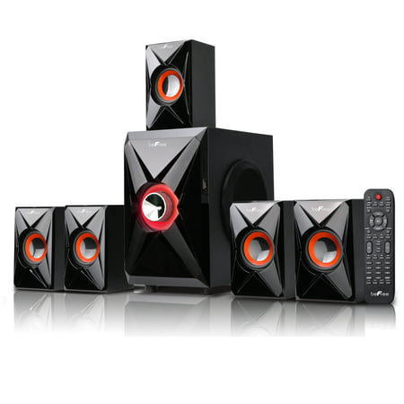 beFree Sound BFS-420 5.1 Channel Surround Sound Bluetooth Speaker System- Orange