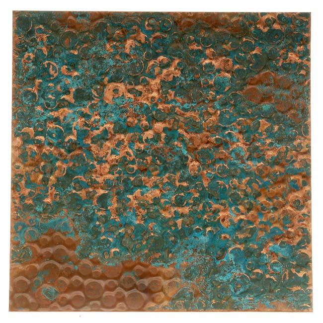 Lillypilly Copper Sheet Metal Bubble Embossed Azul Patina 36 Gauge - 3x3 Inch