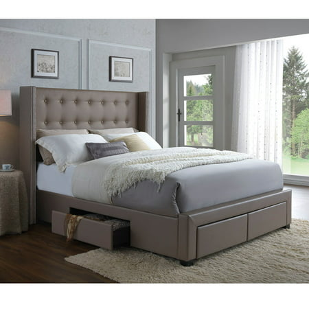 DG Casa Savoy Tufted Upholstered Wingback Panel Storage Bed Frame, King Size in Walnut Faux Leather ()