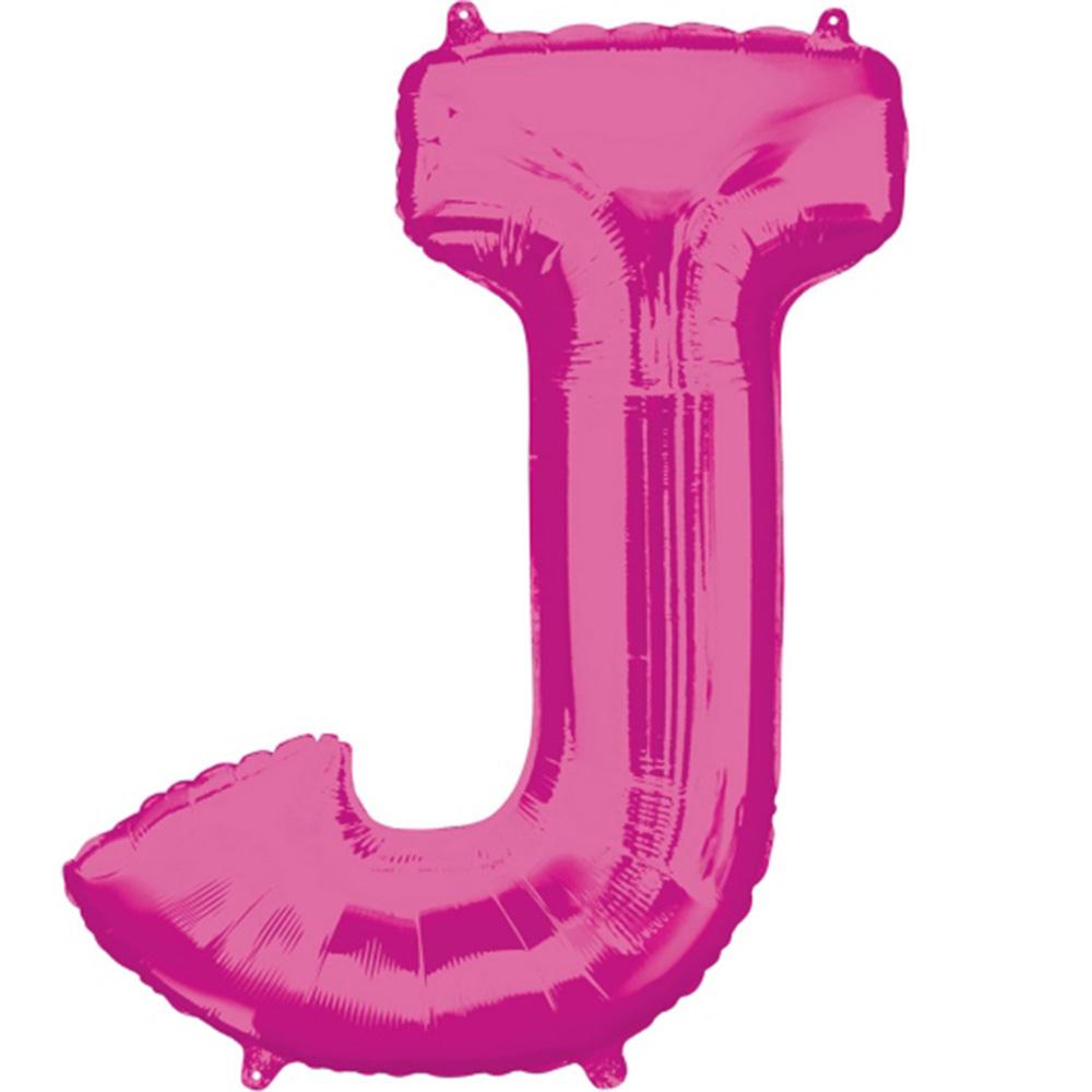 """Giant Pink Letter J Foil Balloon 33"""""""