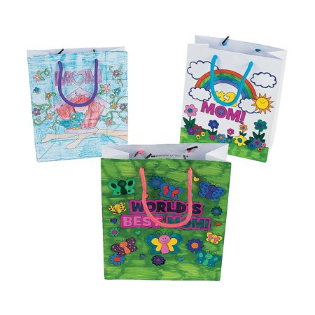Fun Express - Cyo Mom Paper Gift Bags for Mother's Day - Craft Kits - CYO - Paper - Bags - Mother's Day - 12 - Crafts For Mothers Day