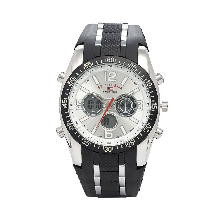 U.S. POLO ASSN Sport Men's US9061 Watch with Black Rubber...