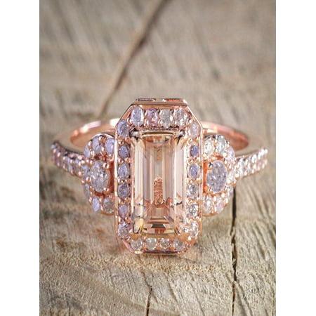 1 25 Carat Peach Pink Morganite (emerald cut Morganite) and Diamond  Engagement Ring in 10k Rose Gold