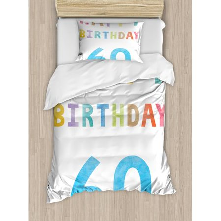 Ambesonne 60th Birthday Decorations Vintage Party For Elder In Abstract Rainbow Print Duvet Cover Set