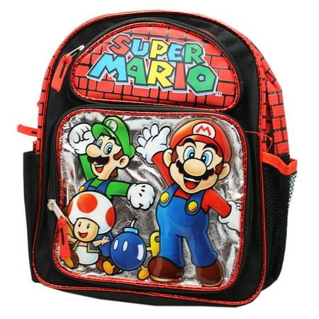 Super Mario Red/Black Mario, Luigi, and Toad Small Preschool Backpack (12in) - Toad Mario Hat