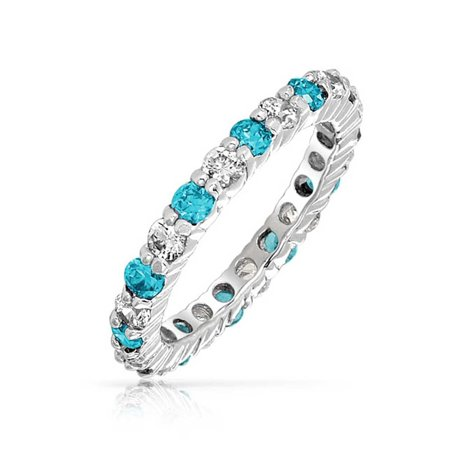 Color Alternating Cubic Zirconia Two Tone Eternity Band Infinite Promise Ring CZ Stackable 925 Sterling Silver](Purple On Mood Ring)