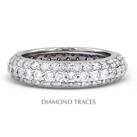 UD-EWB458-2145 Platinum 950 Pave Setting 1.61 Carat Total Natural Diamonds Three Row Band Eternity - Antique Pave Diamond Ring Setting