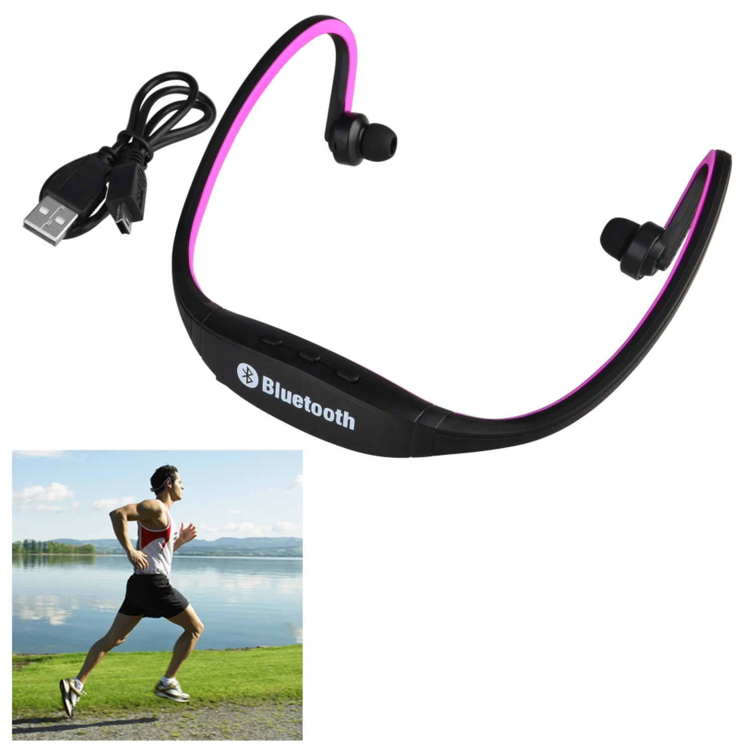 Insten Hot Pink Wireless Bluetooth 3.0 Sports Stereo Earbuds Earphone Headset Headphone for iPhone 7 Plus 6s 6 SE 5s Android Samsung LG HTC Cell Phone Running Workout Gym Exercise Music MP3 Player