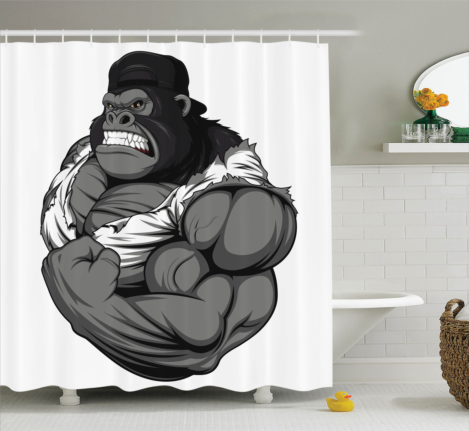 Cartoon Decor Shower Curtain Set, Illustration Of Big Gorilla Like As Professional Athlete Bodybuilding Gym Animal, Bathroom Accessories, 69W X 70L Inches, By Ambesonne