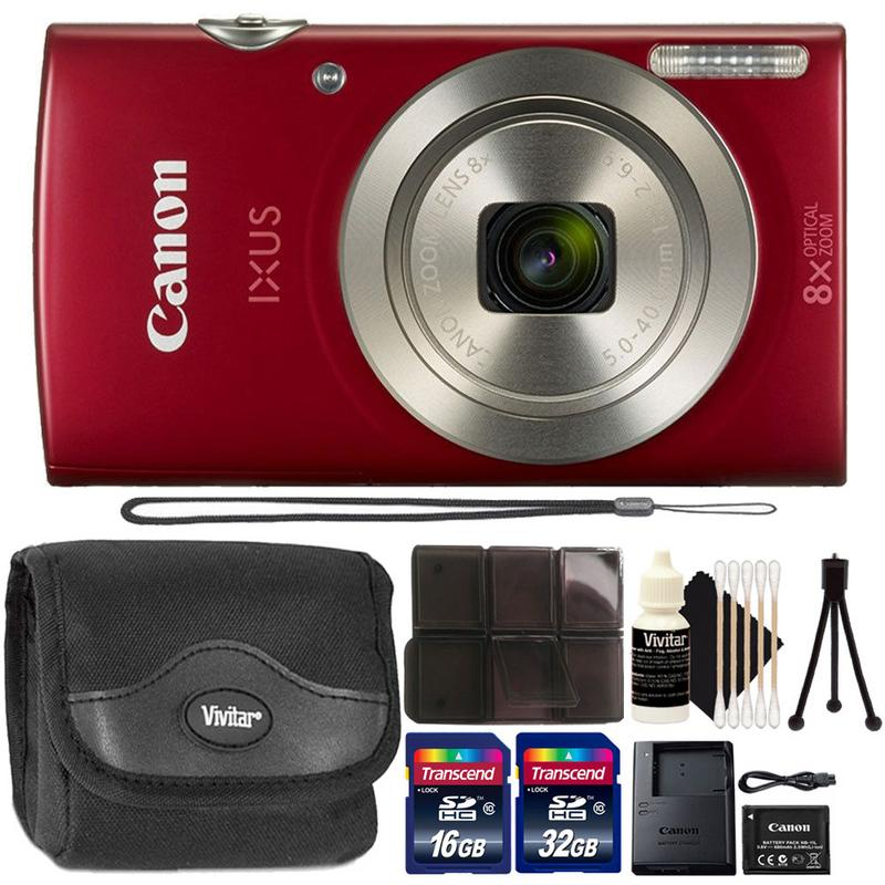 Canon Powershot Ixus 185 / ELPH 180 20MP Compact Digital Camera Red with Accessory Kit