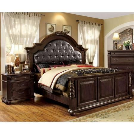 Furniture of America Catherine 2-Piece California King Bedroom Set in Brown