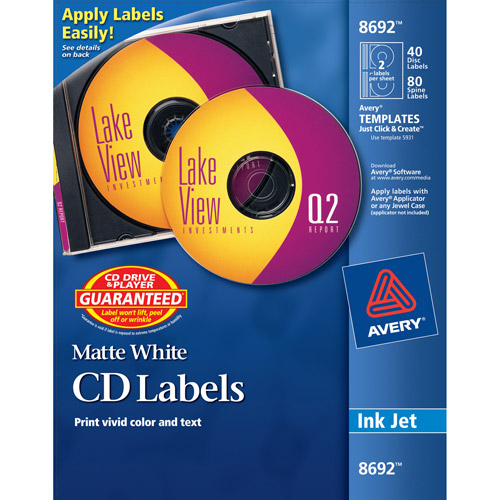 Avery Matte White CD/DVD Labels for Inkjet Printers 8692, 40 Face Labels and 80 Spine Labels/Pack