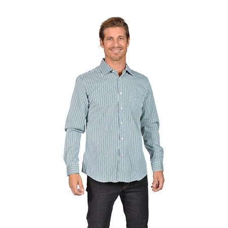 Mens long sleeve button down shirts gingham check green for Mens green gingham dress shirt