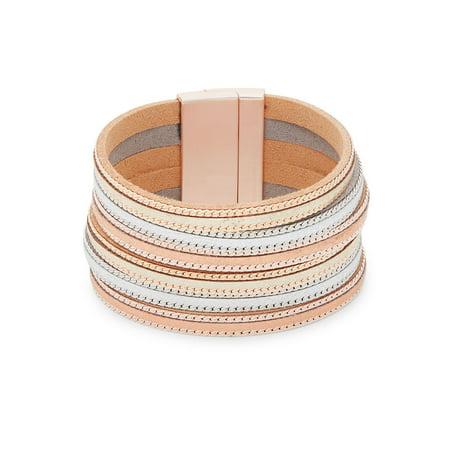 Tri-Tone and Leather Multi-Strand Bracelet Malachite Strand Bracelet