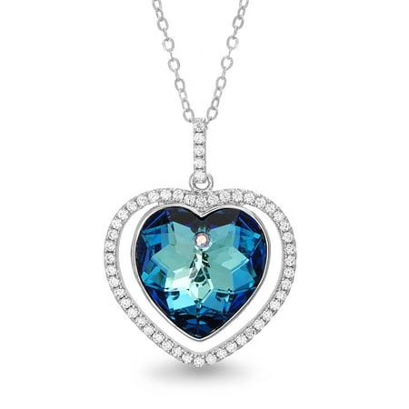 Lesa Michele Women's Blue Crystal Heart Halo Pendant 18