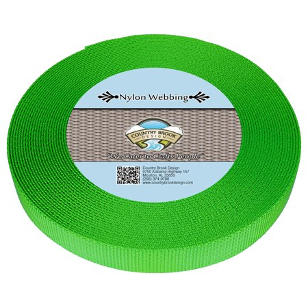 French Country Red Rooster (Country Brook Design® 5/8 Inch Hot Lime Green Heavy Nylon Webbing)