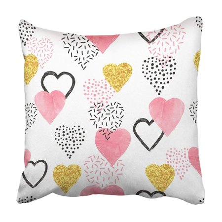BPBOP White Glitter Glittering Gold And Watercolor Pink Hearts Pattern Valentines Day Vintage Pillowcase 20x20 inch](Glitter Heart)