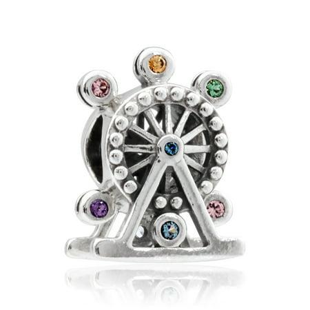 Multi Colored Gemstone Charm (Ferris Wheel Charm Multi-Colored Crystal Charm -)