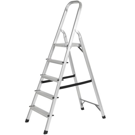 Best Choice Products 5-Step Foldable Aluminum Non-Slip Lightweight Ladder w/ 300lb Capacity for Kitchen, Garage, Indoor, Outdoor, Home Projects - Silver
