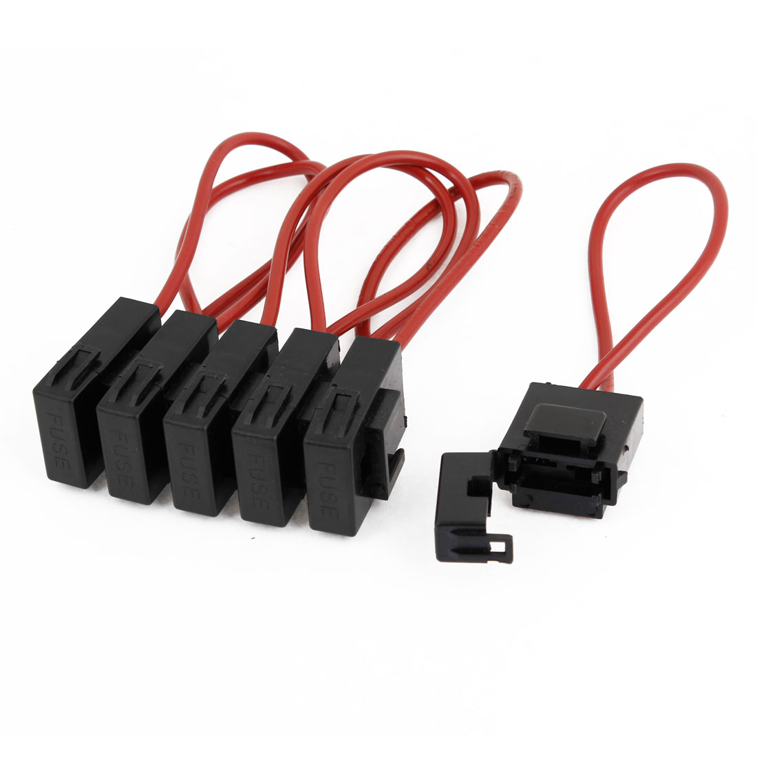 Auto Car Sound Audio Inline Blade Fuse Holder Black Red 6 Pcs